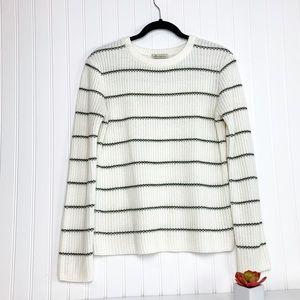 White Crew Neck Sweater with Black Stripes